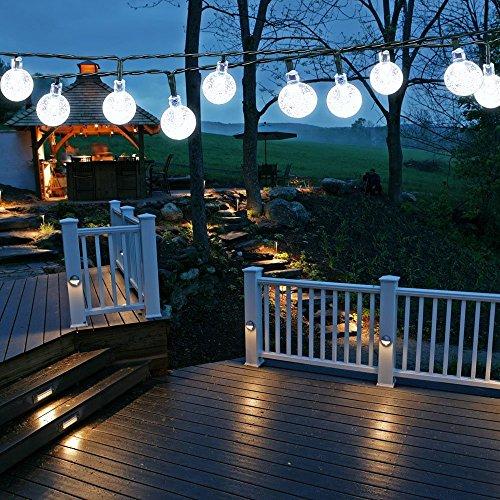 Samoleus 6M 30 LEDS Solar Lichterkette Beleuchtung Kugel Aussen Weiß Außenlichterkette Christmas Lights Wasserdicht für Party Weihnachten Außen Hausdekoration Weiß