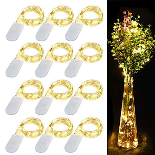 12 Stück Drahtlichterkette 20 LEDs Kupferdraht Lichterkette Batterie betrieben Wasserdicht Dekoration Lichter für Innen Außen Party Heim Weihnachten Hochzeit DekorWarmweiß 72Ft22M