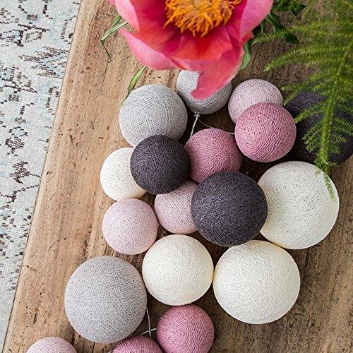 Cotton Ball Lights Premium Velvet Pinks 20 Lichterkette Baumwolle Mehrfarbig