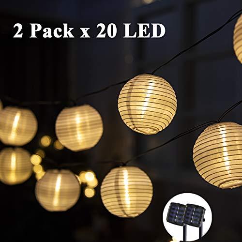 GIGALUMI Solar Lichterkette Lampions 2 Pack 20 LEDs Laterne außen Lichterkette 6m Warmweiß Wasserdicht Weihnachten Dekoration für Garten Terrasse Hochzeit BalkonHof usw