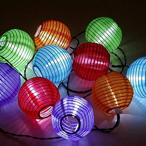 Sunjas Solar Lichterkette 20 LEDs 48 Meter Lampions Laterne Lichterkette Garten Innen- und Außenbereich warmweiß kaltweiß blau bunt für Party Weihnachten Outdoor 20 LEDs bunt