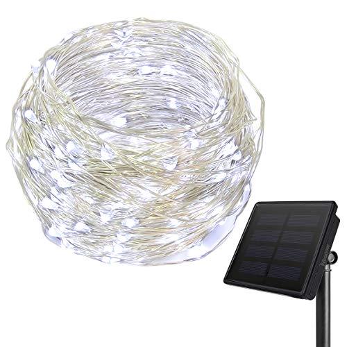 HEEPOW Verbesserte LED Kupferdraht Lichterkette 3-Strang Kupferdraht 200 LED 72 ft 22M Solar Lichterkette mit 8 Modi wasserdicht Solar LED Lichterkette für außeninnen Cool Weiß
