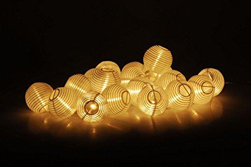 Party Lichterkette mit 20 LED Lampions in weiß - Innen Außen - 20 LED in warmweiß - Lieferung inkl Netzteil