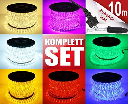 10m LED Lichterschlauch Lichtschlauch Lichterkette Licht Leiste 360 LEDs Xmas Schlauch Steckerfertig für Innen und Außen-Bereich - Komplett Set inkl 20 Wandhalterungen - Blau