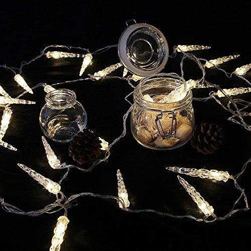 HG 10M 40 LED Eiszapfen Eisregen Lichternetz Lichterkette 31V Wasserdicht warmweiß für Weihnachten Wedding außen Schaufenster