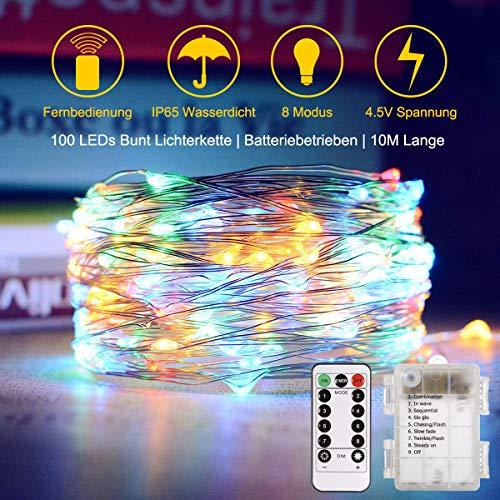 LED Lichterkette Batterie TryLigt 10M 8 Modis IP65 Wasserdicht Lichterkett 100 LEDs Kupferdraht Lichterkette mit Fernbedienung und Timer Lichterketten für Zimmer Weihnachten Innen Außen