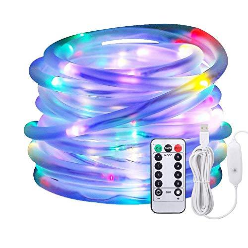 LED Lichtschlauch als Weihnachtsdeko–Afufu 10M 136er Lichterschlauch Bunt Mehrfarbig–Lichterkette Innen und Außen–Lichterkette USB–Wasserdicht IP65–3M Stromkabel–8 Modi Fernbedienbar Lichterketten RGB