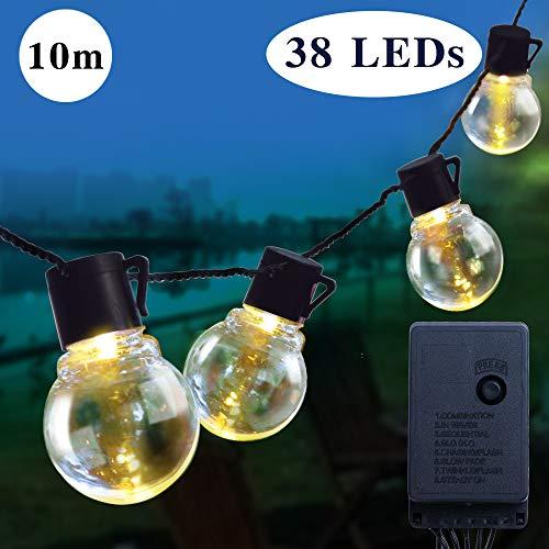 Lichterkette Außen 32ft 10m 38 Birnen 8 Modi LED Garten Lichterkette Gluehbirne AussenLichterkette Dreussen Garten Wasserdicht Lichter Weihnachtsbeleuchtung