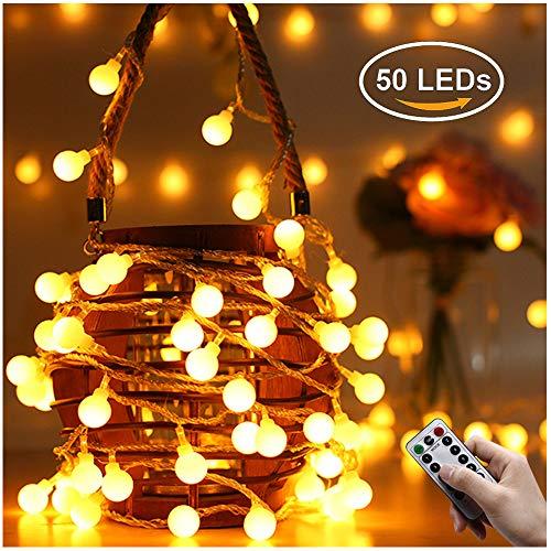 Greatever Lichterkette 50 LED Lichterkette Warmweiß 5M mit 8 Modi Fernbedienung Batteriebetriebene IP65 Wasserdicht Innen und Außen Deko für Weihnachten Party Garten Balkon