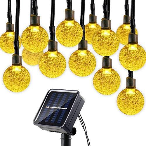 lederTEK Solar Lichterkette Außen mit LED Kugel 6m 30LED 8 Modi warmweiß Außenlichterkette Wasserdicht mit Lichtsensor Weihnachtsbeleuchtung Beleuchtung für Weihnachten
