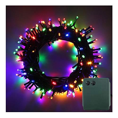 100-500 LED Batterie Lichterkette Kette Batteriebetrieben 8 Modi und Timer Leuchte Beleuchtung Grünes Kabel für Weihnachtsbaum Garten Party Innen und Außen Dekoration Bunt 200LEDs