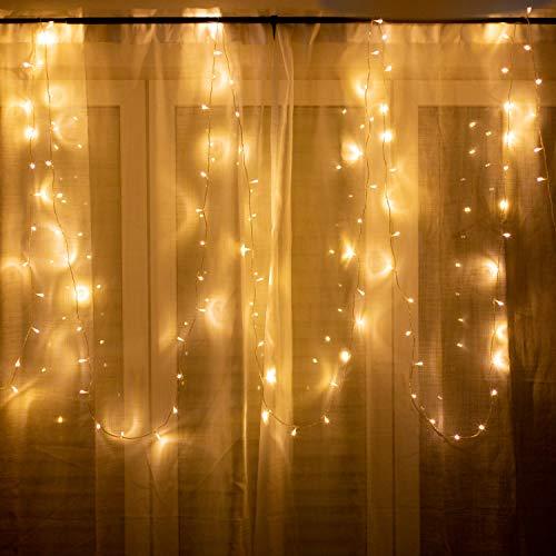100er LED Lichterkette für innen und außen - 12 Meter Gesamtlänge  100 LEDs warm-weiß - kein lästiges austauschen der Batterien  NICHT batterie-betrieben sondern mit Netzstecker  von CozyHome