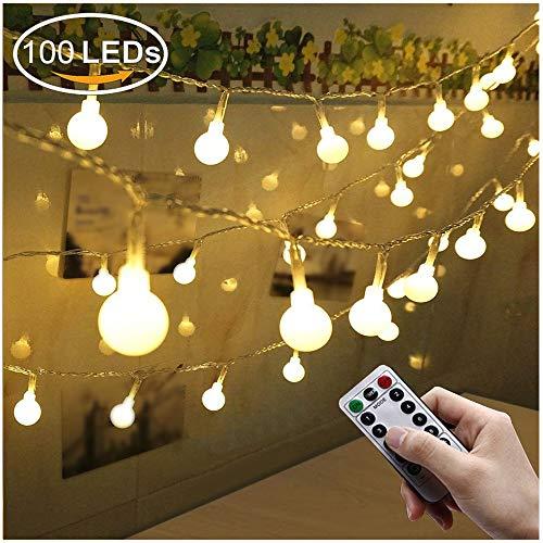 Greatever Lichterkette 100 LED Lichterkette Warmweiß 10M mit 8 Modi Fernbedienung Batteriebetriebene IP65 Wasserdicht Innen und Außen Deko für Weihnachten Party Garten Balkon