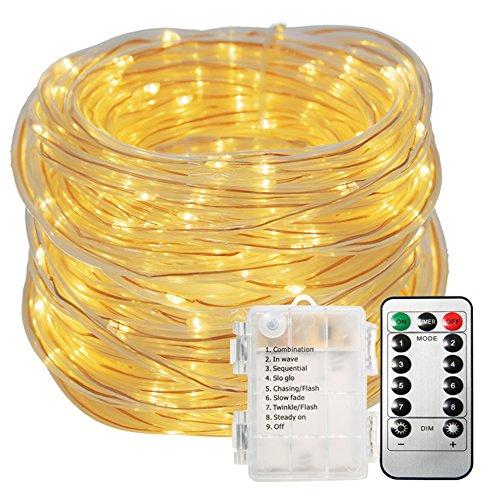 LED Lichterschlauch AußenGLIME 10M 100 LEDs Lichterkette mit Batterie Schlauch warmweiß 8 Modi IP65 Wasserdicht Dekoration Lichtschlauch für Innen- und Außenbereich Balkon Garten Hochzeit usw