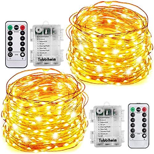 Tobbiheim 2 Stück Batterie Lichterkette Außen 60 LEDs 8 Meter IP68 Wasserdicht 8 Modi mit Fernbedienung und Timer DIY Dekoration Kupferdraht für Weihnachten Garten Hochzeit - Warmweiß
