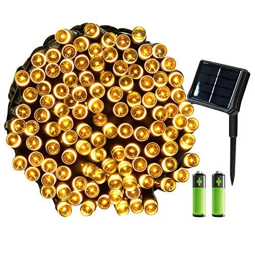 Yasolote SolarBatterie Betrieben Umschaltbar Lichterkette Außen Wasserdicht LED Weihnachtsdeko 22m 200 LED 8 Modi Weihnachtsbeleuchtung für Garten Weihnachtsbaum Pavillon Deko Warmweiß