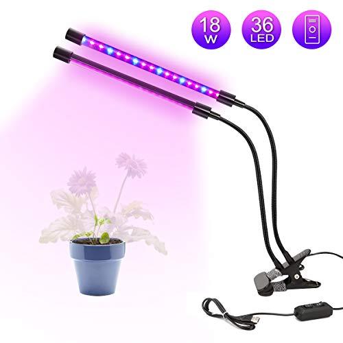 LED Doppelkopf Pflanzenlampe GLIME 18W dimmbare Pflanzenleuchte 360 Grad einstellbar Wachstumslampe Flexible Pflanzenlichter für Zimmerpflanzen Hydroponik Gewächshaus Gartenarbeit