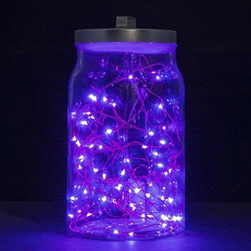 Ryham LED-Schnur-Licht Flexible Kupferdraht Licht 98ft  3m 30 LED wasserdichte Sternen Schnur-Lichter f¨¹r Weihnachten Hochzeit und Party Lila