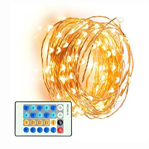 X-reega Flexible dimmbare wasserdichte 33ft  10M 100LEDs Kupferdraht LED Lichter mit Fernbedienung für Garten  Hochzeit  Party (Warmweiß)