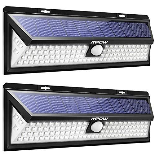 Mpow 102 LED Bewegungssensor Solarlicht Helle Wandleuchte Solarleuchten 3 Modi Sonnenkollektor 120 ° Erfassungswinkel Wetterfest Außenbeleuchtung für Garten Auffahrt Hof Garage Terrasse