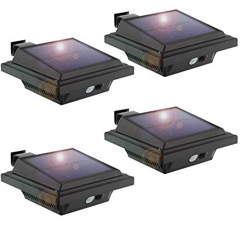 KEENZO LED Dachrinnenlampe Solar Dachrinnenleuchte 25 LEDs 2W PIR-Sensor SchwarzKaltweißes Licht 4er-Set