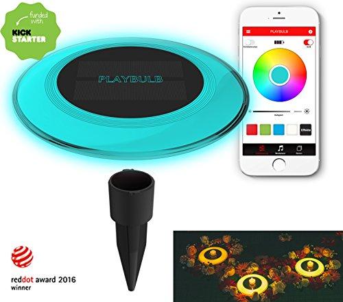 MiPow Playbulb Solar - wasserdichte LED Solar-Leuchte für Garten Teich und Pool mit Smart Home App-Steuerung 16 Mio Farben Effekte und Timer Einzeln
