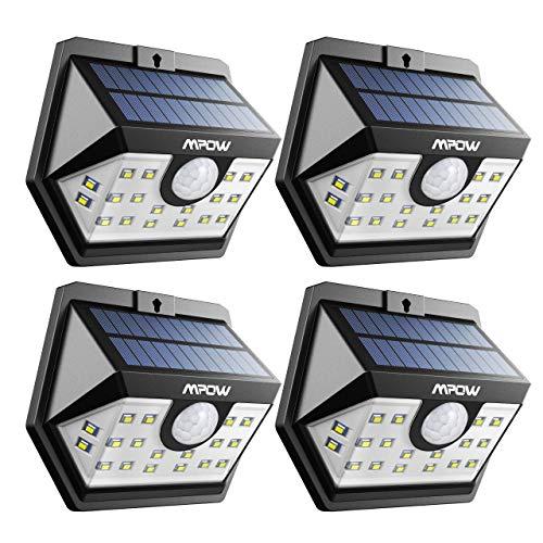 Mpow Solarlampen für Außen 20 LED Solarleuchte mit Bewegungsmelder Solarlicht 120 ° Weitwinkel Solarlampe Solar Sicherheitswandleuchte Wasserdicht für Garten Garage Auffahrt Pfad Hof Balkon