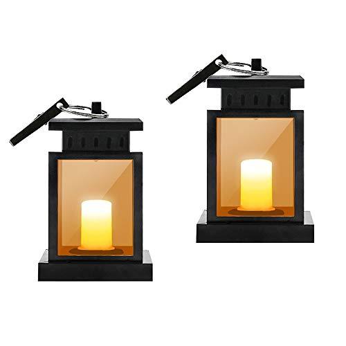 Außen Solar Laterne LTPAG 2 Pack Led Solar Laterne mit LED Kerze und Flackernde Flammen Effekt Lichtsensor Akku zum Aufhängen Warmgelber Licht Dekorieren Weihnachten Solar Gartenlaterne Lampen