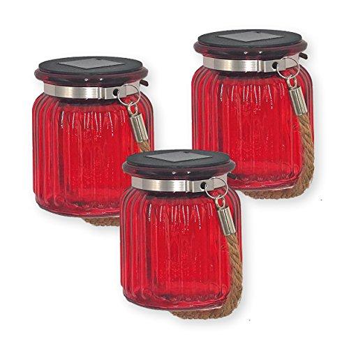 ISOTRONIC LED Solarlampe 3er Set SolarleuchteSolar Laterne Hängeleuchte für Garten Balkon und Außen – 10 LEDs pro Lampe – EinmachglasVorratsglas Deko für Party Fest Hochzeit rot-transparent