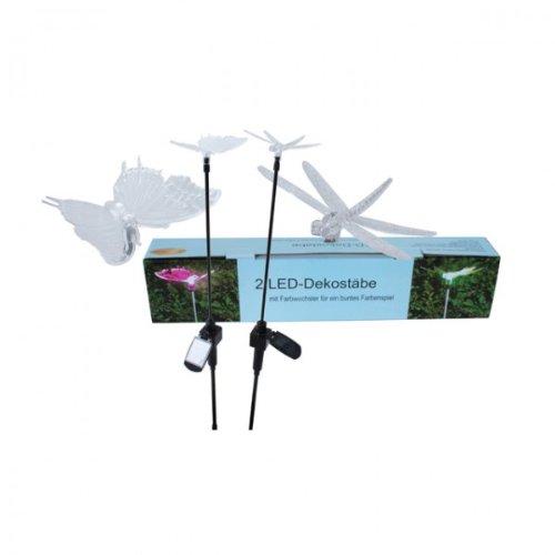2 LED-Dekostäbe Schmetterling Libelle Standleuchte Solarleuchte Wegbeleuchtung