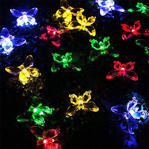 48M 20 LEDS Mehrfarbig LED Schmetterling Solarleuchten Schnur-Lichter Lichterketten Draussen Wasserdicht Garten Terrasse Weg Rand Pfahlleuchten