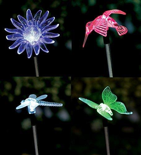 4er Set LED Solar Gartenstecker - Solarstecker mit Farbwechsel Schmetterling Libelle Blume Kolibri Solarleuchte Dekoleuchte solar figur