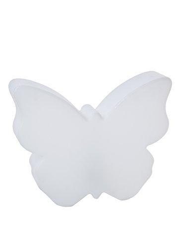 8 seasons design LED Solar Deko Schmetterling Leuchte Shining Butterfly 40cm warmweiß Solarmodul Dämmerungssensor IP44 Solarleuchte Garten weiß