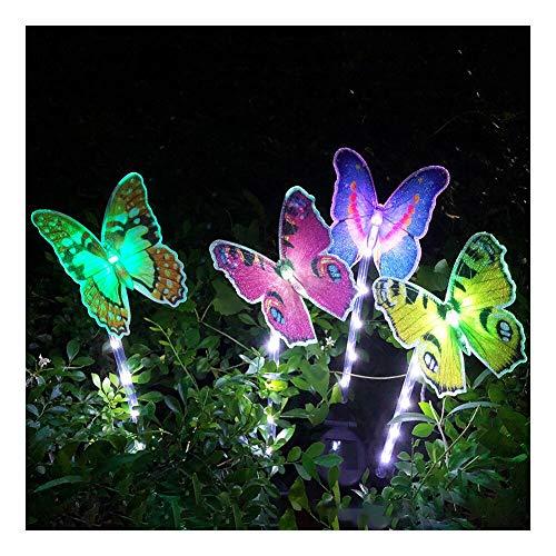 FHzytg 4 Stück Beleuchtung Außen Solarleuchte GartenSolar Garten Lampen mit Farbwechsel Optik LED Schmetterling Solar Lichter Außen Dekoration Lichter für Garten Rasen Terrasse Feld Weg