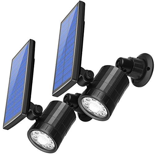 AMIR Gartenleuchten 800 Lumen Solarleuchten Solar Außenleuchte Wandleuchte Bewegungssensor Solarlampe LED Bewegungsmelder Licht Solar Spot Leuchte für Garten Terrasse Auffahrt – Wetterfeste