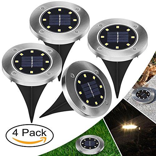【Neue Version】4 Stück LED Solarleuchten Bodenleuchte 8 LED Solar Leucht außen Solarleuchte Wasserdichte Solar Bodenstrahler Edelstahl Garten Landschaftslichter für Rasen Weg Hof Fahrstraßen WarmWeiß