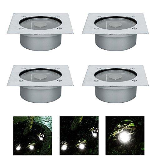 4x LED Solar Bodeneinbaustrahler Außen Led Bodenspot für IP65 Terrasse Bodenleuchte Gartenlampe Solar WarmWeiß Außenleuchte Weihnachten 105 cm breit