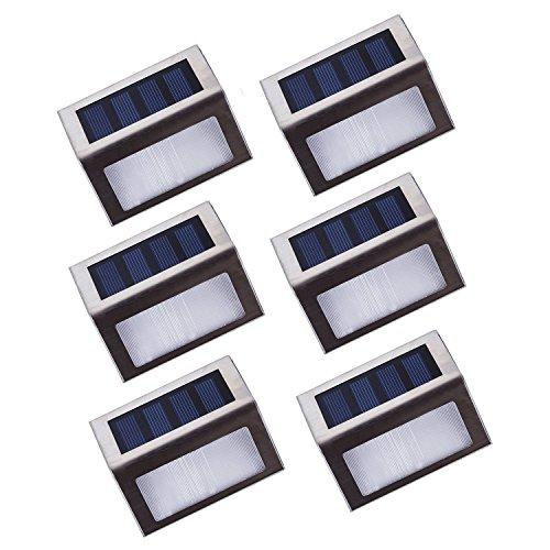 Asvert 6 Stücke Solarleuchte Treppenlampe Outdoor LED Treppenleuchten Wegeleuchten Wasserdichter automatischer Garten Hof Edelstahl Plattform Stufenbeleuchtung 2 LEDs Edelstahl für Stufen Pfade Patio Decks 6 Stücke