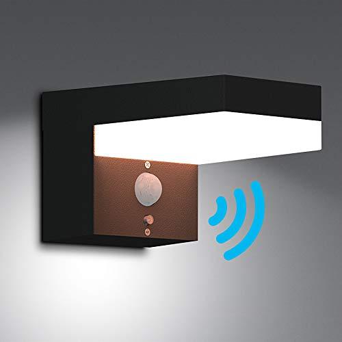 NBHANYUAN Lighting LED Solar Wandlampe mit Bewegungsmelder PIR Outdoor Edelstahl Solarleuchten  Dimmbar Wandlampe für Garten 3 Modi in Dimmbarer Beleuchtung 4000K Warmweiß Licht IP44
