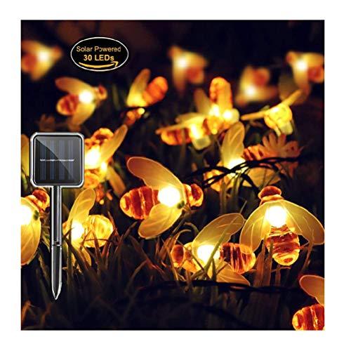 Outdoor-Solarleuchten Panpany Wasserdicht 8 Modi Solar String Lichter 22ft 30LED Außerhalb Lichterketten Biene geformt Sternenlichterkette Lichter für Garten Terrasse Patio Hof Party Weihnachten