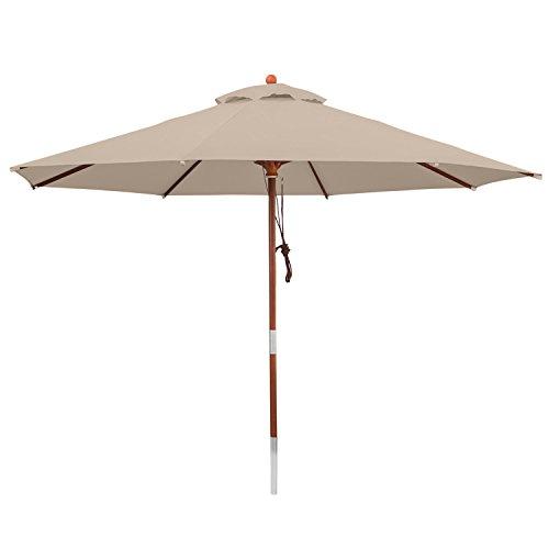 anndora 35003 Sonnenschirm dunkelnatur 350 cm rund Gestell Holz Bespannung Polyester 135 kg