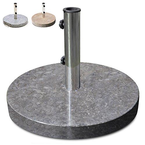 Nexos Sonnenschirmständer – Marmor poliert grau rund Ø 50cm 25kg – Schirmständer Ständer Sonnenschirm Edelstahl inkl Reduzierringe