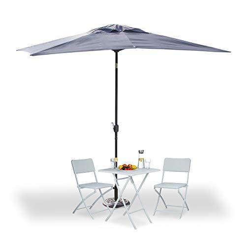 Relaxdays Sonnenschirm rechteckig 200x300cm neigbarer Gartenschirm mit Kurbel Balkonschirm ohne Ständer grau