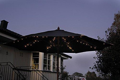 Garden mile 60 LEDs Solar betrieben Garten Sonnenschirm Regenschirm Lichterketten Perfekt Für Wandbehang Vor Die Gartenlaube Oder Parasols mit flexiblem Draht glänzend weiß LED Garten Lichterkette
