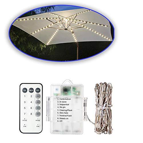 TECKEPIC 104 LED Solar Lichterkette für Sonnenschirm wassedicht IP67 Sonnenschirmbeleuchtung Blinkfunktion Warmweiß