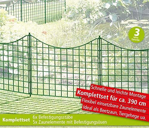 GREEN YARD Teichzaun 11-TLG Unterbogen Dunkelgrün Metall Beetzaun Einzäunung