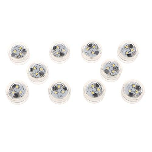 Fenteer 10 Stück LED Unterwasser Licht Wasserdichte Unterwasserleuchte mit RGB Fernbedienung für Hochzeit Party Weihnachten Aquarium Dekoration - Weiß