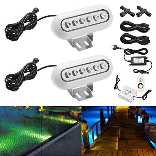 QACA 2X SET LED Unterwasserlicht Unterwasserbeleuchtung RGB Unterwasserstrahler Teichbeleuchtung Unterwasserleuchte Wasserdicht IP68 12W