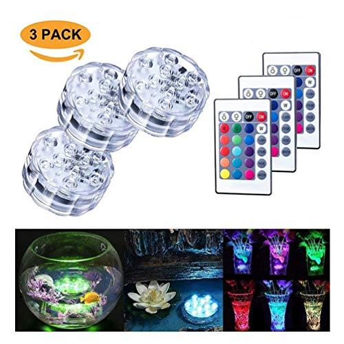 Tauch-LED-Lichter 10 RGB LED 16 Farben die wasserdichte Unterwasserleuchten ändern Multi-Farbe batteriebetrieben mit IR-Fernbedienung für Aquarium Vase Basis Teich Swimmingpool Garten Party