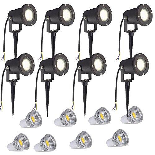 SAILUN 8 x 3W LED Gartenleuchte Rasen Licht mit Erdspieß Matt-Schwarz Warmweiß 85-265V wasserdicht IP65 für den Außenbereich Garten Teich Park Landschaft